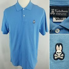 PSYCHO BUNNY Men's Size 6 Large Blue S/S Short Sleeve Two Button Polo Shirt NWOT