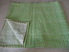 Reversible Queen Size Cotton Hand Block printed Kantha Quilt in Diamond Print