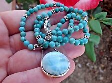NATURAL TURQUOISE STERLING SILVER ENGRAVED BEADS LARIMAR PENDANT NECKLACE