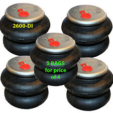 """set of 5 air ride springs lift bags 2600 D-I  1/2"""" Fittings"""