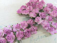 144 Mulberry Paper Rose Flower/Wire/decoration/bouquet H420-Lavender/White