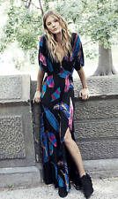 NEW EXPRESS FEATHER PRINT KIMONO SLEEVE MAXI DRESS SZ L LARGE