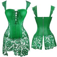 Women's Victorian Sweetheart Steampunk Corset Bustier Dress Basque Lace Skirt