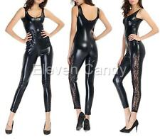 Lady Sexy Faux Leather Jumpsuit Overall Clubwear Bondage Open Crotch Bodysuit