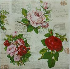 VINTAGE ROSES COLLAGE 2 single LUNCH SIZE  paper napkins for decoupage 3-ply