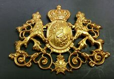 VINTAGE MIRIAM HASKELL SIGNED GOLD COAT OF ARMS CROWN SHIELD BROOCH PIN