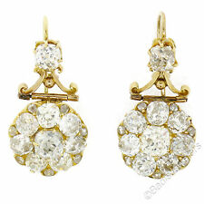 Antique Victorian 18k Gold 5.10ctw Old Mine Cut Diamond Drop Dangle Earrings