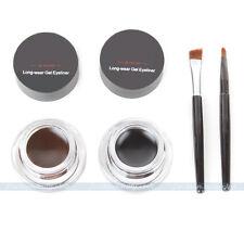NEW Pro Black / Brown  + 2 Brush Eye Liner Eyeliner Shadow Gel Makeup Cosmetic