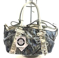 Kathy Van Zeeland City Lights Satchel White Blue Serengeti NWT