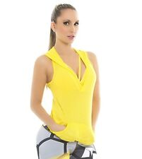 Yellow Stretch Mesh Hoodie Sleeveless Sport Top Soft Cool Fabric