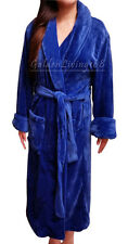 Women Navy Blue Shawl Collar Velour Soft Plush Thick Bath Robe Warm Spa & Hotel