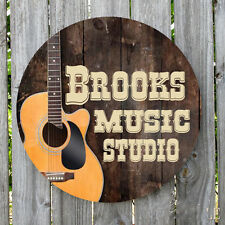 GUITAR COUNTRY MUSIC PERSONALIZED ROUND METAL SIGN