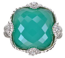 Judith Ripka Green Chalcedony & Crystal Cushion Cut Sterling Silver Ring Size 7