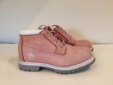 Timberland Pink Nubuck Leather Lace Up Boots Size 4 Ladies Girls
