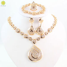 African Costume Jewelry Sets 18k Gold Plated Crystal Necklace Sets For Women