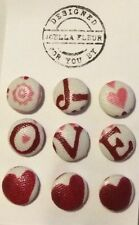 9 Pink Heart Emma Bridgewater Fabric Upholstery/ Clothing/ Haberdashery Buttons