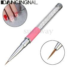 Professional Pen Brush Crystal Handled Nail Art Liner Painting Drawing UV Gel