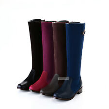 Womens Casual Fashion Knee High Boots Low Heels Belt Buckle Shoes Red US Size 3