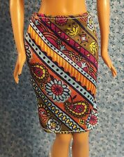 Barbie Diagonal Patterned Skirt in Brown Blue and Yellow - NO DOLL