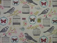 Clarke and Clarke Melodie Natural Birds Butterflies Stamp Curtain Craft Fabric