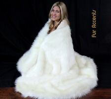 FUR ACCENTS Shaggy White Faux Fur Throw Blanket Plush 5' x 6'
