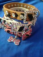 New Rhinestone Dog Collar Leather  Diamante Collars Bling Chihuahua