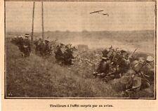 IMAGE 1912 PRINT TIRAILLEURS A L AFFUT SURPRIS PAR UN AVION