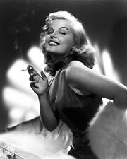 CLEO MOORE 8X10 PHOTO SMOKING CIGARETTE FEMME FATALE GLAMOUR POSE