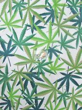 HERB CANNABIS MARIJUANA WHITE BY ALEXANDER HENRY COTTON FABRIC FH-1882