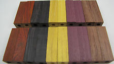 20 Pre-Drilled 7mm Exotic Wood Blanks Cocobolo, African Blackwood, Bubinga PD-3