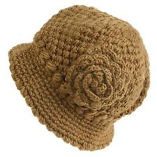 Winter 1920s Thick Knit Fleece Lined Floral Cloche Bucket Bell Hat Cap Taupe M