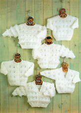 Baby Knitting Pattern Dk Cardigan and  Jumper Collection  Prem - 22 chest #144