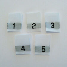 1-2-3-4-5 Mixed Woven Size Labels-Qty 100- Tags tabs child adult baby