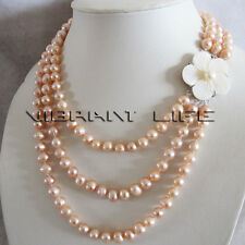 """17-21"""" 7-9mm Peach Pink 3Row Freshwater Pearl Necklace Fashion Jewelry UK"""
