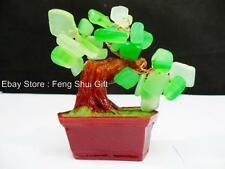 Fen Shui Chinese Japanese Green Jade Stone Quartz Gemstone Bonsai Lucky Tree #BS