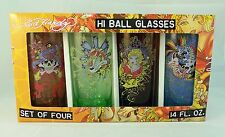 Set of 4 Don Ed Hardy Colored Glass Hi Ball Glasses 14 oz