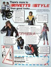 2 x 1979 'RIVETTS' Motor Cycle Leathers ADVERTS #2 - Clothing Print Ads 492k