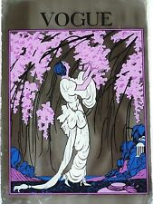 VINTAGE ART NOUVEAU VOGUE MAGAZINE SERIGRAPH MIRROR GLASS WOMAN w/ PINK FLOWERS