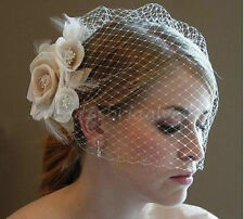 New!! Champagne/Ivory Flower Fascinator Wedding Bridal Birdcage Face Veil Stock