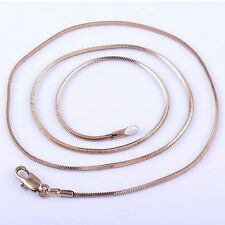 Womens Mens Rose Gold Filled Square Snake Chain Necklace Free Shipping 17.7 inch
