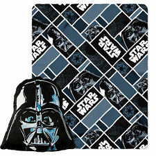 "Licensed Disney Star Wars Big Mask Darth Vader Pillow 16"" & Throw 40""x50"" Set"