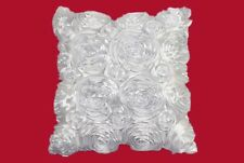 SET OF 2 WHITE ROSE SATIN 3D 17x17 DECORATOR THROW PILLOW COVER FLORAL
