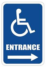 "Handicap Entrance Sign 12"" x 8"" Heavy Gauge Aluminum Signs"