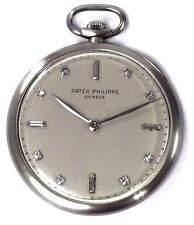 1920s Vintage Patek Philippe Platinum Diamond Dial 18J 8Adj Dress Pocket Watch