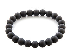 Stackable Matte Black 8mm Stone Stretch Buddha Bracelet Mens Unisex NEW