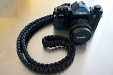 NEW BLACK WHITE PARACORD CAMERA NECK STRAP DSLR MIRRORLESS CANON SONY COBRA 48""