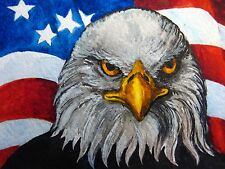 Watercolor Painting Bald Eagle Head Bird American Flag US Feathers ACEO Art