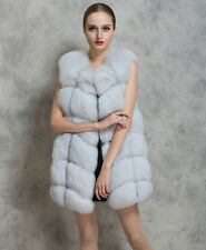 Womens Lady Warm Gilet Long Slim Jacket Vest Faux Fox Fur Waistcoat Furry Coat