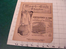 vintage Theatre Program: UNDER SOUTHERN SKIES west-end theatre 1904 or 1905 TORN