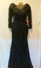 BABYONLIME DRESS WEDDING /PROM FORMAL MIDNIGHT BLUE FULL LENGTH TRAIN SMALL NEW